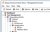 Startup page of the Management Console