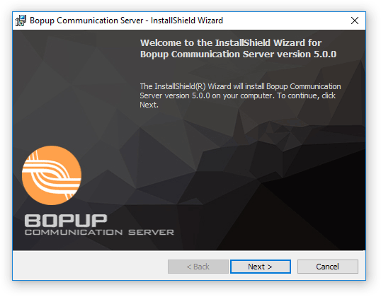 The welcome page of the Bopup Communication Server Setup Wizard