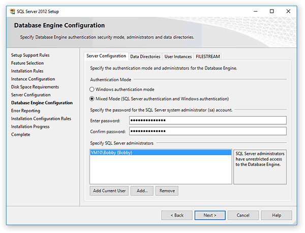 Choose the Authentication Mode for Microsoft SQL Server 2012
