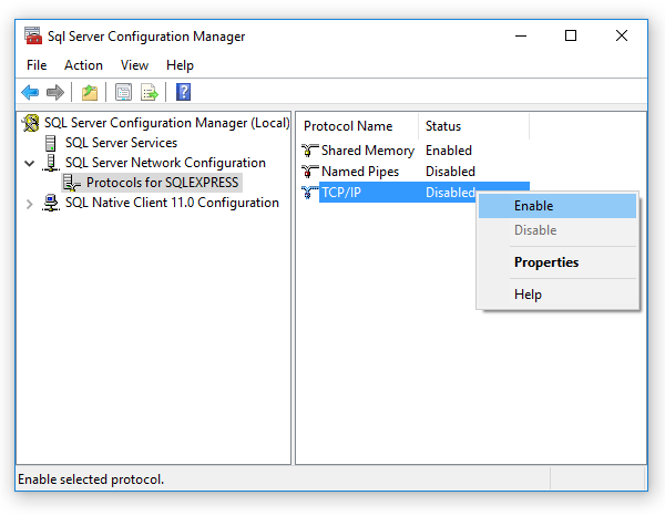Enable TCP/IP protocol on the SQL server