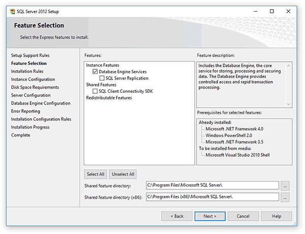 Select features of the SQL server to install