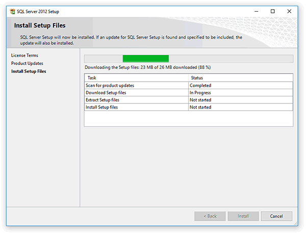 Installing software components required by Microsoft SQL Server2012 Express Edition
